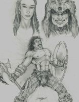 Conan and unknowns -sketch- by -vassago-