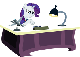 Rarity At Her Desk by PinkiePizzles