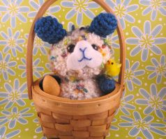 Fluffy Easter Bunny in Basket by AmiTownCreatures