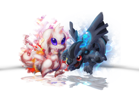 Chibi Reshiram and Zekrom by Foxeaf