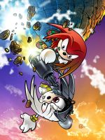 Knuckles vs Zachary colour by handtoeye