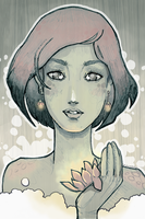 Green Girl with Lotus ::Digital:: by lavonia