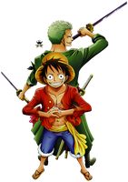 Luff and Zoro Render 1 by RoronoaRoel