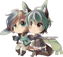 Chibi - Rune and Taiki by Rinselli