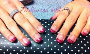 Magenta Glitter Nails by hugmemel