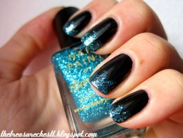 Black and Blue Glitter Tips by IoanaZ