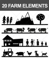 20 Vector Farm Elements by nadaimages