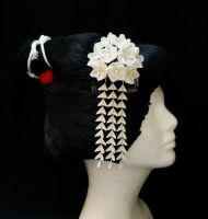Bridal White Cherry Blossom Kanzashi 175 by japanesesilkflowers