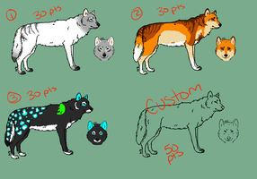 Wolf adoptables by NAMEY-D0G