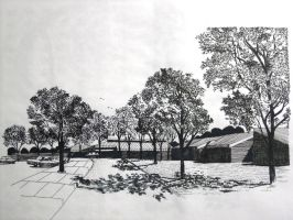 pen drawing building and trees by wwei