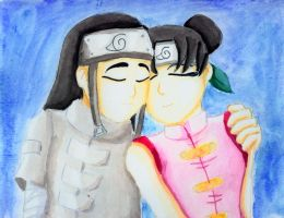 Neji and Tenten cuddle by earthstar