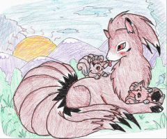 Ninetales and Babies by sammyslion