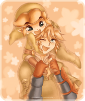 Link and Link: Piggyback by Zelbunnii