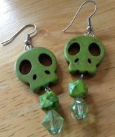 Green Skull Earrings by CorterMoon