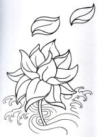 Fantasy Lotus Outline by vikingtattoo