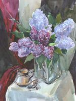 still life with a lilac by Kakomicly