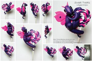Sweet Treat Lollypop Dragon Purple Dragon by lizzarddesigns