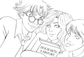 HP Golden Trio - Lineart by hitomi--i
