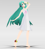 -MMD- PjD White One Piece Miku DOWNLOAD by KasugaKaoru