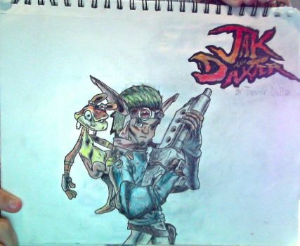 JakDaxter + Jak and Daxter logo drawing(Unflipped) by TannMann64