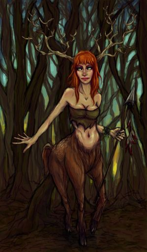 Forest deer girl
