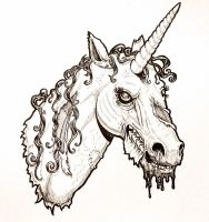 Zombie Unicorn Head by harperugby