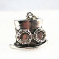 Top hat with goggles: Steampunk silver charm by Joshuadsanchez