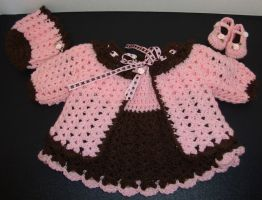Pink and Chocolate infant outfit by Crochet-by-Clarissa