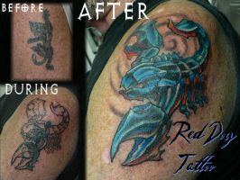 Scorpion Cover-up by Reddogtattoo