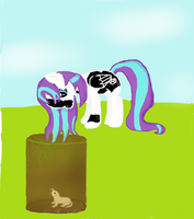Pawheart looking in a hole (Updated) by pinkiepiebrony0