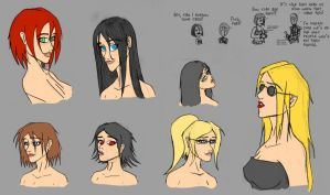 More female heads by Lomebririon