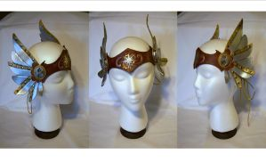 Steampunk Leather Valkyrie Circlet by MirabellaTook