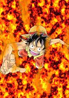 Luffy's ablaze by marvelmania