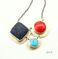 Red Black Blue Statement Bib Necklace by IoannaEvans