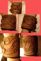 Etched leather cuffs by missmonster