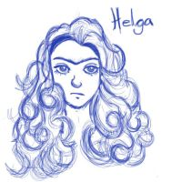 Helga Pataki big hair sketch by Abelista