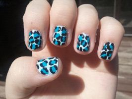 Chill Blue Leopard Nail Art by TheNailFile
