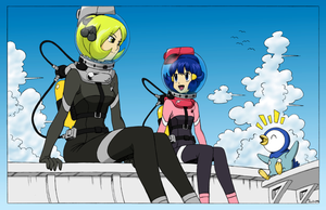 Cynthia and Dawn in diving suit by Nekomi4