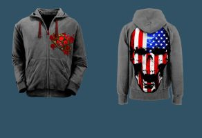 American Skull Hoody by Tyger-graphics
