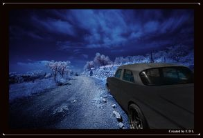 blue night and classic car by EDLdesign