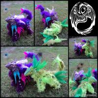Squrrgle + Wirrgle - Twin Poseable Dragons - SOLD by SonsationalCreations