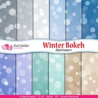 Winter bokeh digital papers by PolpoDesign
