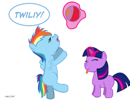 Filly Twilight and Rainbow Dash Play Date by anon2lol