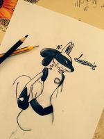 Lucario (sketch) by DarksideofChocolate