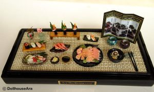 Sushi, salmon Sashimi Japanese food sets by dollhouseara