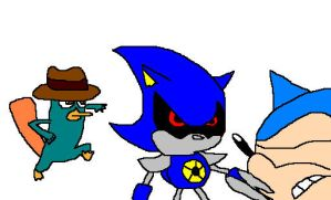 Classic Sonic and Agent P vs. Metal Sonic by RocketSonic