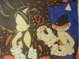Ultimate Clash : Dark Super Sonic VS Sonic.Exe by Fluttershiny