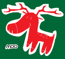 Raindeer says moo by mariekelikestodrawn
