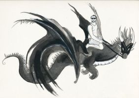 Shane and his Black Dragon by burntfeather