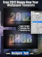 Free 2012 Happy New Year Wallpaper PSD Template by MGraphicDesign